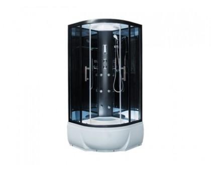 Душ. кабина ER5710TP-C24-RUS 100*100*2150см, зад стенка зеркальная ст.тон. 4 мм г/м выс.под. проф.чер.