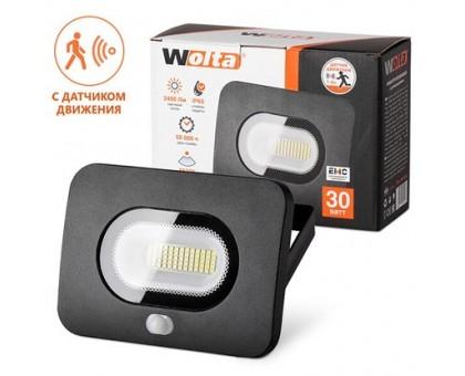 Прожектор светодиодный WOLTA 30W с датчиком движения 5500K IP65