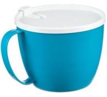 Кружка для супа 0,7л с крышкой, бирюзовый 160611