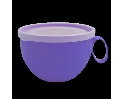 Чашка 0,5л с крышкой (прозрачный/фиолетовый) 136964 купить