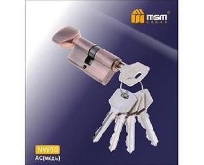 Цилиндровый механизм обычный ключ-верту NW60mm AC медь