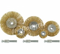 Набор щёток-крацовок со шпильками, 5 предметов: Плоские 25, 38, 50, 63, 75 мм,латунированных,Pobedit