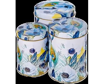 """Набор банок для сыпучих продуктов """"Анемоны"""" 3 предмета ( 350мл, 650мл, 1000мл ) (жесть) 142226"""