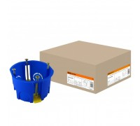 Коробка установочная СП 68х45мм, саморезы, пл. лапки, синяя, IP20, TDM
