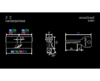 Цилиндровый механизм ЕСО Z Л-60 (латунь) (30-30)