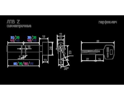 Цилиндровый механизм ЕСО Z ЛПВ-70 (латунь) (35-35)