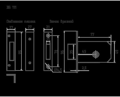 Замок врезной ЗВ-111 (хром) (5кл)