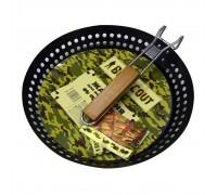 """Жаровня для морепродуктов и овощей """"BOYSCOUT"""" с АНТИПРИГАРНЫМ покрытием, складной ручкой, 53хO30х3см"""