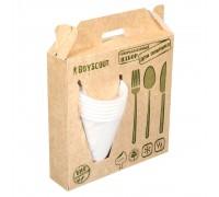 Набор для пикника БИОразлагаемый BOYSCOUT (тарелки, стаканы, вилки, ложки, ножи по 6 шт)