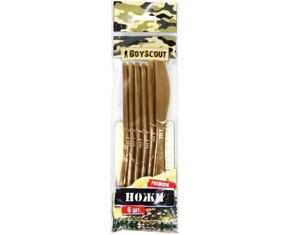 Набор ножей PREMIUM одноразовые, пластиковые, золотые BOYSCOUT 6шт