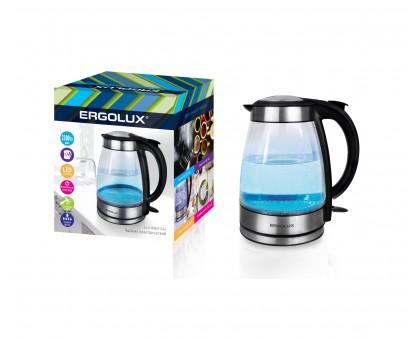 Чайник электрический ERGOLUX ELX-KG02-C42 серебристо-черный, стеклянный 1,70л 1500-2300Вт