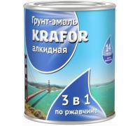 Грунт-эмаль по ржавчине KRAFOR 3в1 голубая 1,0кг