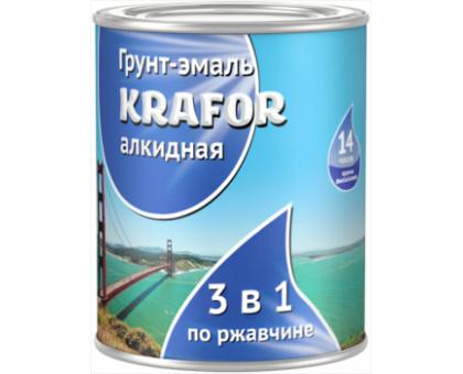 Грунт-эмаль по ржавчине KRAFOR 3в1 серая 1,0кг