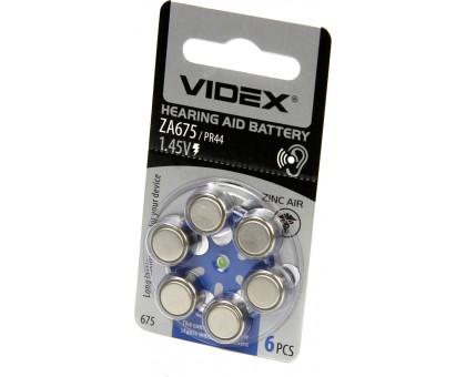 Батарейка VIDEX ZA675 (PR44) 6BL воздушно-цинковая