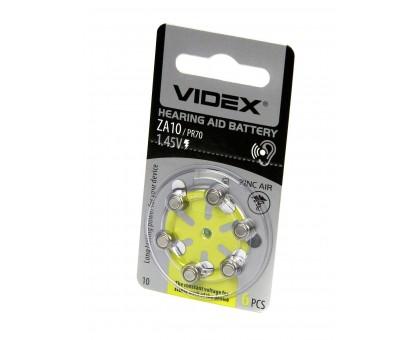 Батарейка VIDEX ZA10 (PR70) 6BL воздушно-цинковая