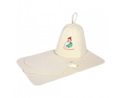 Набор из 3-х предметов (шапка Лучший банщик, рукавица, коврик) войлок