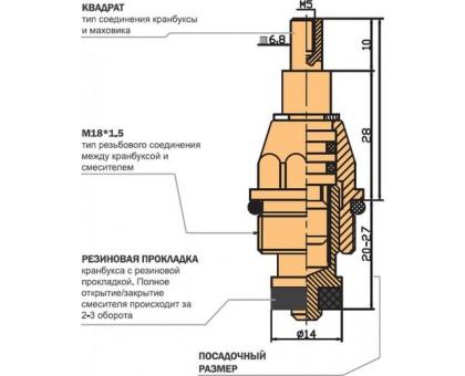Кранбукса с резиновой прокладкой, длинная М18, квадрат 7мм в блистере 2шт 010 (06978)