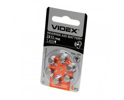 Батарейка VIDEX ZA13 (PR48) 6BP воздушно-цинковая