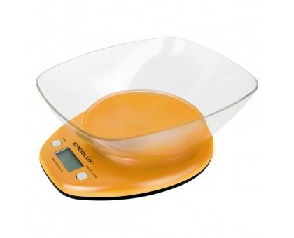 Весы кухонные ERGOLUX ELX-SK04-C11 оранжевые, со сьемной чашей до 5кг