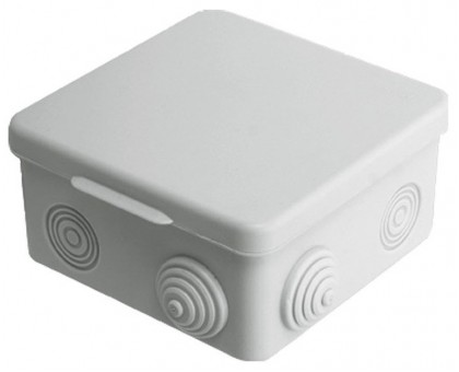 Коробка распаячная ОП 100х100х55мм, крышка, IP54, 8вх. TDM