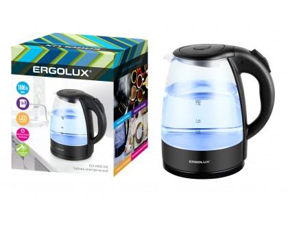 Чайник электрический ERGOLUX ELX-KG03-C02 черный, стекло, 1,80л 1,8кВт