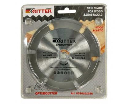 Диск пильный по дереву, пластику, гипсокартону Ritter OptimCutter 125х22,2 6T тв.зубьев
