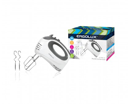 Миксер ручной ERGOLUX ELX-EM02-C31 320Вт бело-серый