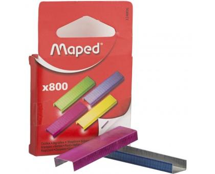 Скобы для степлера 26/6 MAPED, цветные 800шт