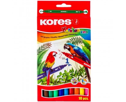 Фломастеры Kores 10 цветов, двухсторонние 29021