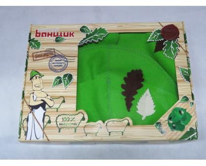 """Набор для сауны """"Банный лист"""" 4 предмета (шапка, рукавицы-2шт, коврик), фетр зеленый Б4727"""