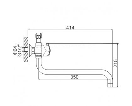 Смеситель для ванной LEDEME картридж керамика L2726