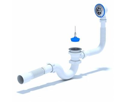 Сифон для ванны АНИПласт C6155 с выпуском и переливом, труба 40х50