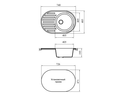 Мойка GRANICOM NOVELL Каролина 7502 750х490мм серый