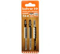 Набор пилок Bohrer Т3-4 для лобзика (дерево/ламинат/пластик/алюминий) (T227D/T101BR/T244D) (3 пилки)