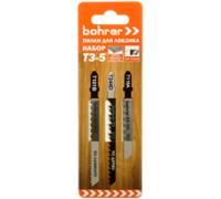 Набор пилок Bohrer Т3-5 для лобзика (дерево/ламинат/пластик/сталь) (T101B/T118A/T244D) (3 пилки)