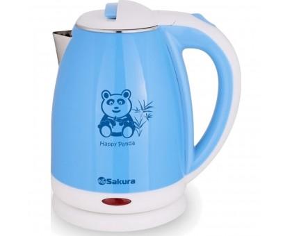 Чайник электрический дисковый SAKURA 1,8л голубой/белый SA-2138BL