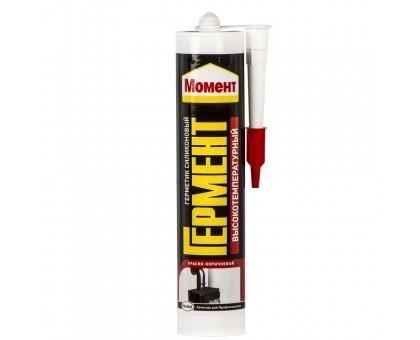Герметик МОМЕНТ силиконовый, высокотемпературный, красно-коричневый 300мл купить
