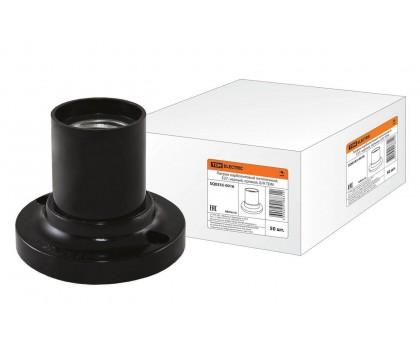 Патрон керамический TDM Е27 потолочный, черный, прямой