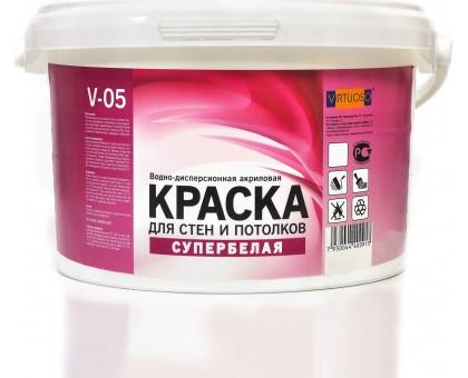 Краска VIRTUOSO V-05А для стен и потолков, водно-дисперсионная, морозостойкая, супербелая 3кг