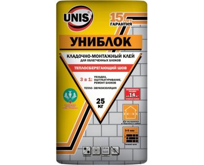 """Клей для блоков """"ЮНИС Униблок"""" кладочно-монтажный 25кг"""