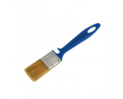 """Кисть плоская Bohrer """"Лаки"""" 35мм искусственная щетина 45х10мм синяя пластиковая рукоятка"""