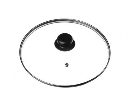 Крышка стеклянная 32см с металлическим ободком и пластиковой ручкой ОС-1909001-9