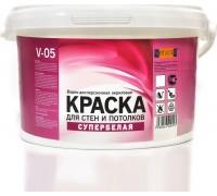 Краска VIRTUOSO V-05А для стен и потолков, водно-дисперсионная, морозостойкая, супербелая 14кг