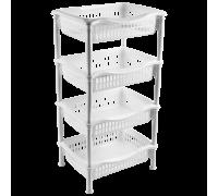Этажерка прямоугольная 4-х секционная ДЮНА белый мрамор 167772