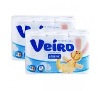 Бумага туалетная VEIRO 2-х слойная 12шт
