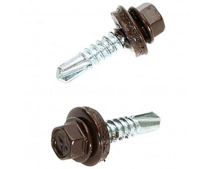 Саморезы кровельные 5,5х19мм /шоколадно-коричневый/ RAL8017