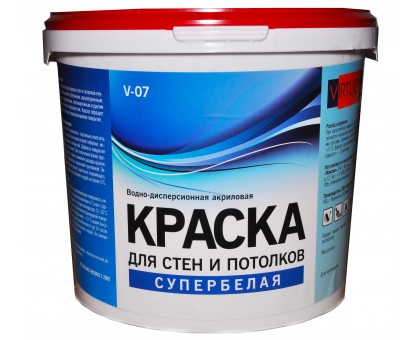 Краска VIRTUOSO V-07 А 1,4кг для стен и потолков, супербелая, морозостойкая купить