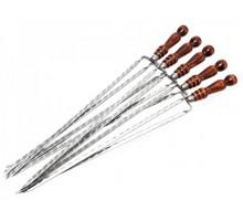 Шампур-вилка с деревянной ручкой
