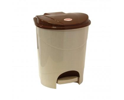 Контейнер д/мусора 19,0 л педальный, бежевый мрамор